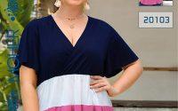 خرید تیشرت راحتی زنانه و دخترانه سه رنگی و آستین خفاشی سایزبزرگ