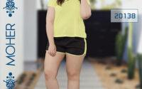 خرید ست تیشرت شورت راحتی زنانه و دخترانه پلاس سایز رنگ لیمویی