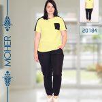 خرید ست تیشرت شلوار راحتی زنانه پلاس سایز رنگ لیمویی و مشکی