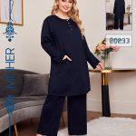 خرید ست تونیک آستین بلند و شلوار راحتی زنانه پاییزه سرمه ای سایزبزرگ