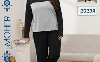 خرید ست بلوز شلوار راحتی زنانه پاییزه سایزبزرگ رنگ مشکی و ابری
